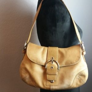 Coach Tan Suede & Brown Leather Hobo Shoulder Bag
